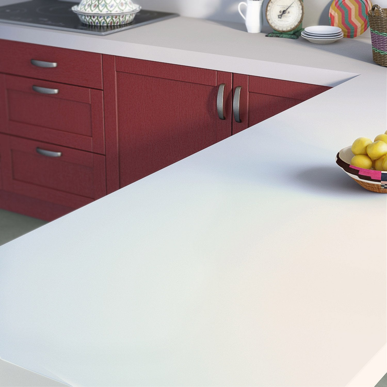 Plan de travail stratifié Mat edition blanc Mat L.315 x P.65 cm, Ep.58 mm  Leroy Merlin