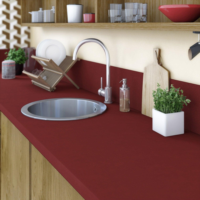 Plan de travail stratifi rouge rouge 1 mat x for Plan de travail cuisine verre