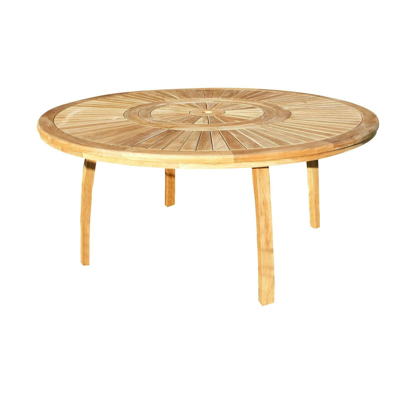 Table de jardin orion ronde naturel 8 personnes leroy merlin for Leclerc exterieur table