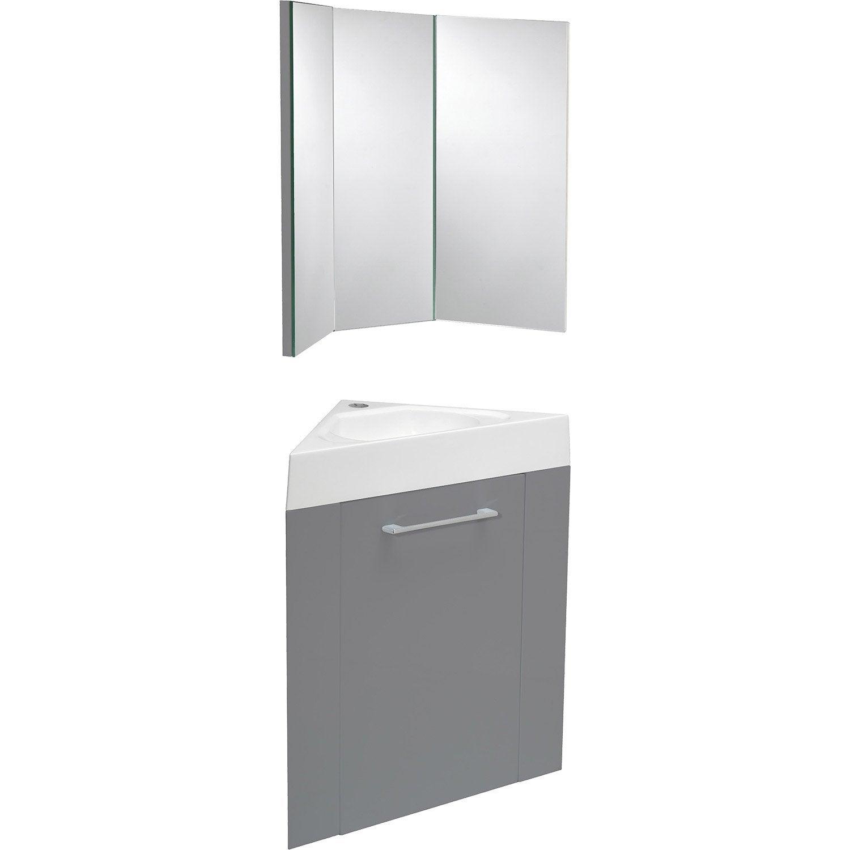 Meuble lave mains avec miroir gris galet n 3 sensea remix - Leroy merlin miroir grossissant ...
