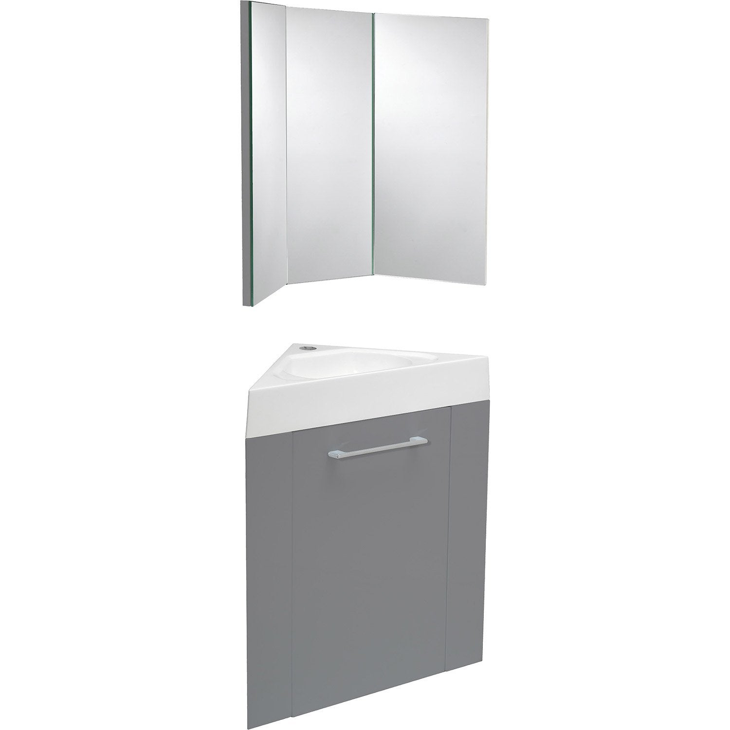 meuble lave mains d 39 angle avec miroir sensea remix gris. Black Bedroom Furniture Sets. Home Design Ideas