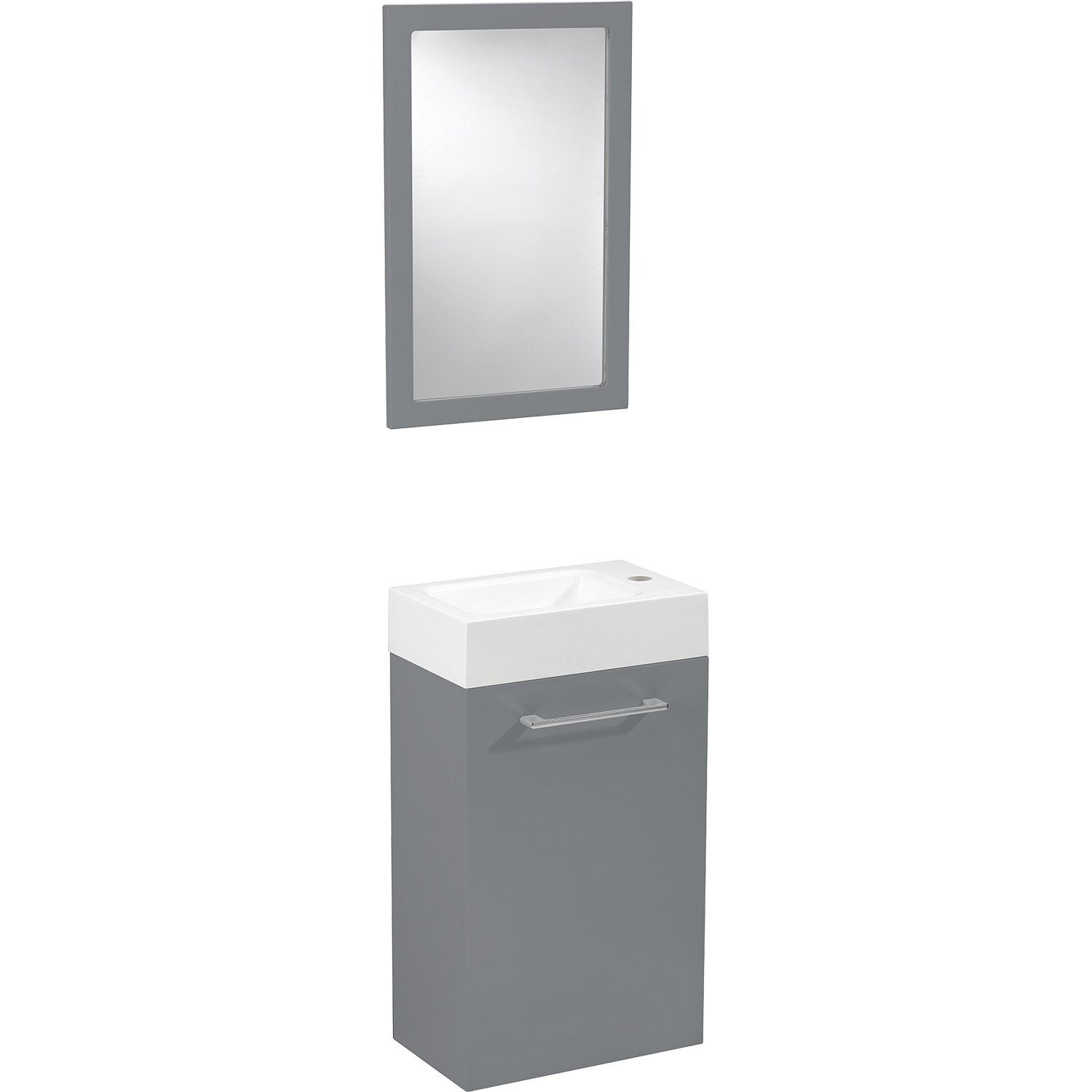 Meuble lave mains avec miroir gris galet n 3 sensea remix for Meuble de toilette leroy merlin