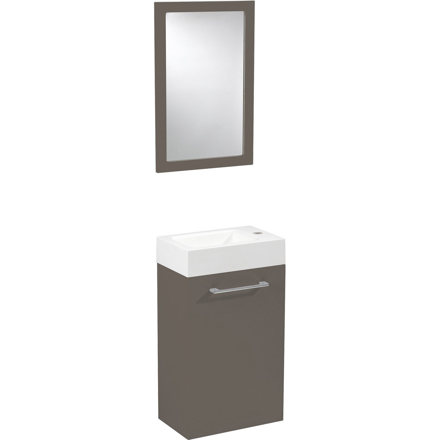 Meuble lave mains avec miroir brun taupe n 3 sensea remix for Mobile remix leroy merlin