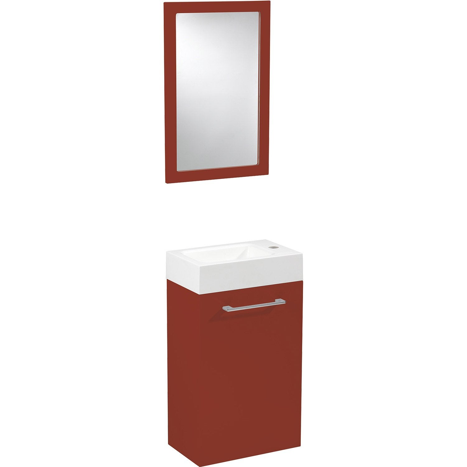 Meuble lave mains avec miroir sensea remix rouge rouge n for Meuble lave mains ikea