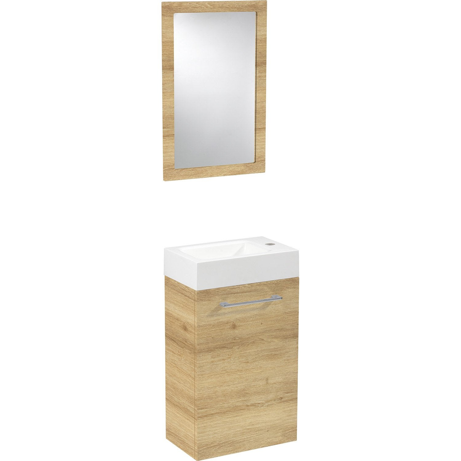 Meuble lave mains avec miroir sensea remix leroy merlin for Petit toilette leroy merlin