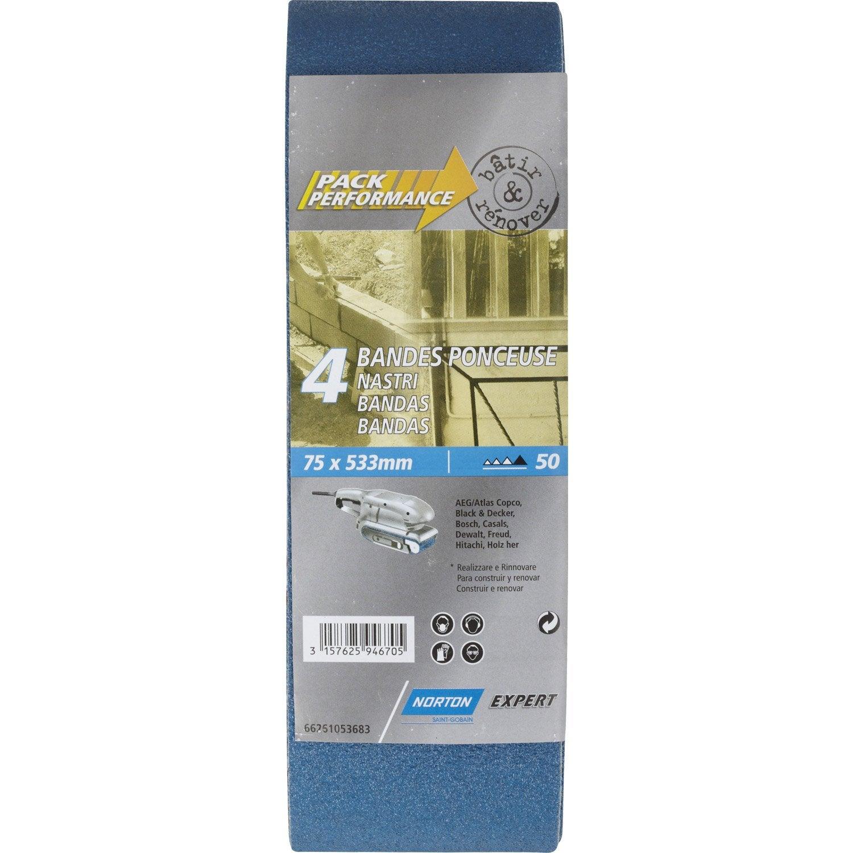 4 bandes abrasives norton pour ponceuse bande 75x533 mm grains 50 leroy merlin. Black Bedroom Furniture Sets. Home Design Ideas