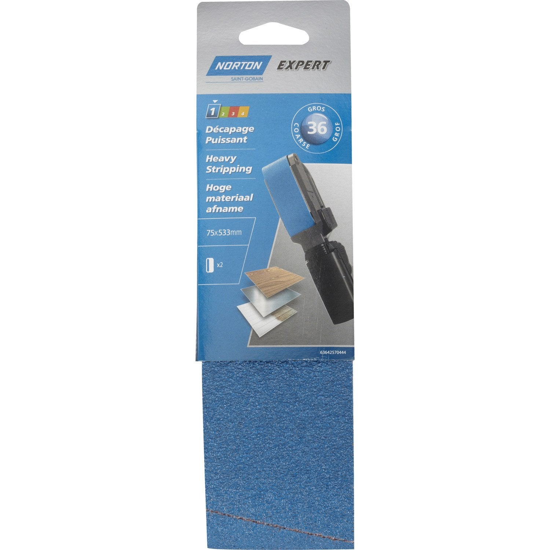 2 bandes abrasives norton pour ponceuse bande 75x533 mm. Black Bedroom Furniture Sets. Home Design Ideas