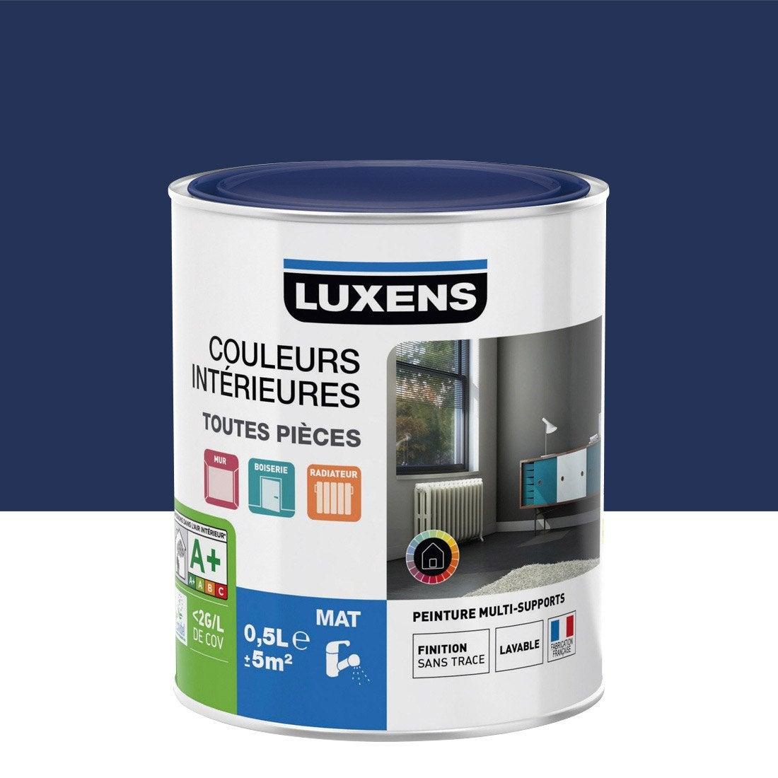 Peinture bleu bleu 1 luxens couleurs int rieures mat 0 5 l - Peinture bleu petrole leroy merlin ...
