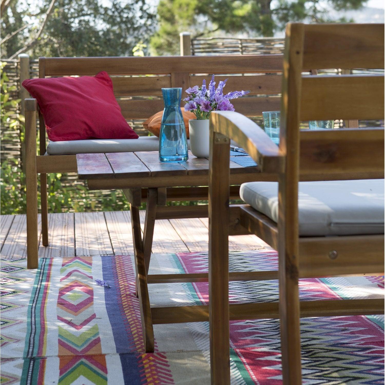 Salon de jardin porto 1 table 2 fauteuils 1 banc for Bancs de jardin leroy merlin