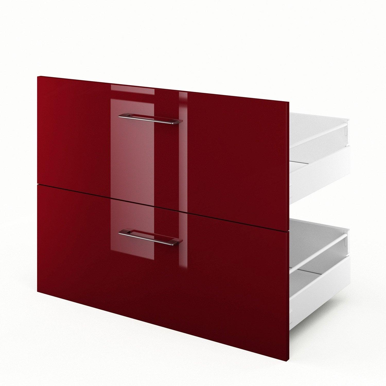 2 tiroirs de cuisine rouge 2d90 griotte l90xh70xp55 cm leroy merlin - Cuisine leroy merlin rouge ...