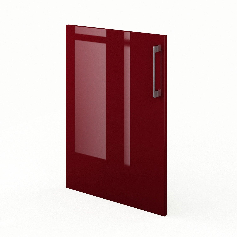 Porte de cuisine rouge f50 griotte l50 x h70 cm leroy for Miroir 50 x 70 leroy merlin
