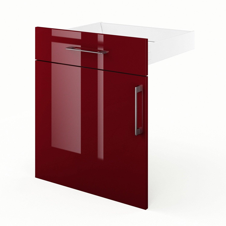 Porte + tiroir de cuisine rouge FD60 Griotte, L60 X H70 X P55 cm ...