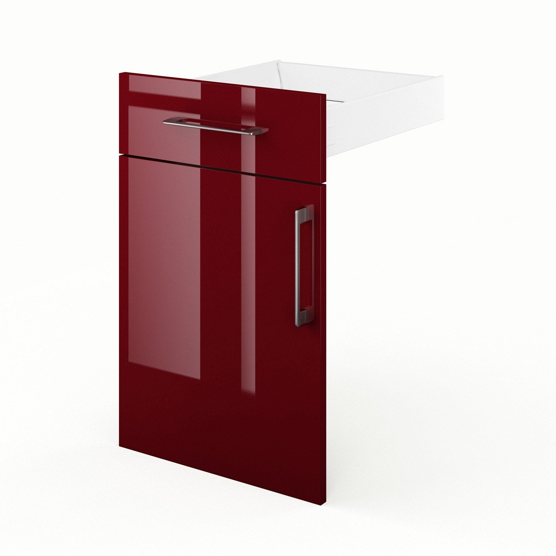 Porte et tiroir de cuisine rouge griotte x x p for Verin porte cuisine leroy merlin