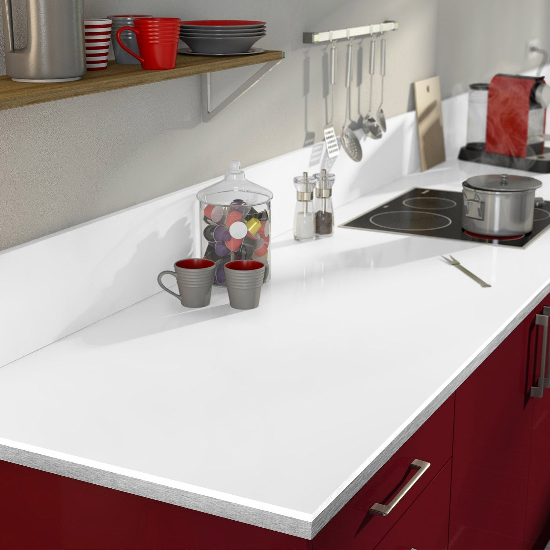 plan de travail droit stratifi blanc 315 x 65 cm p 38. Black Bedroom Furniture Sets. Home Design Ideas