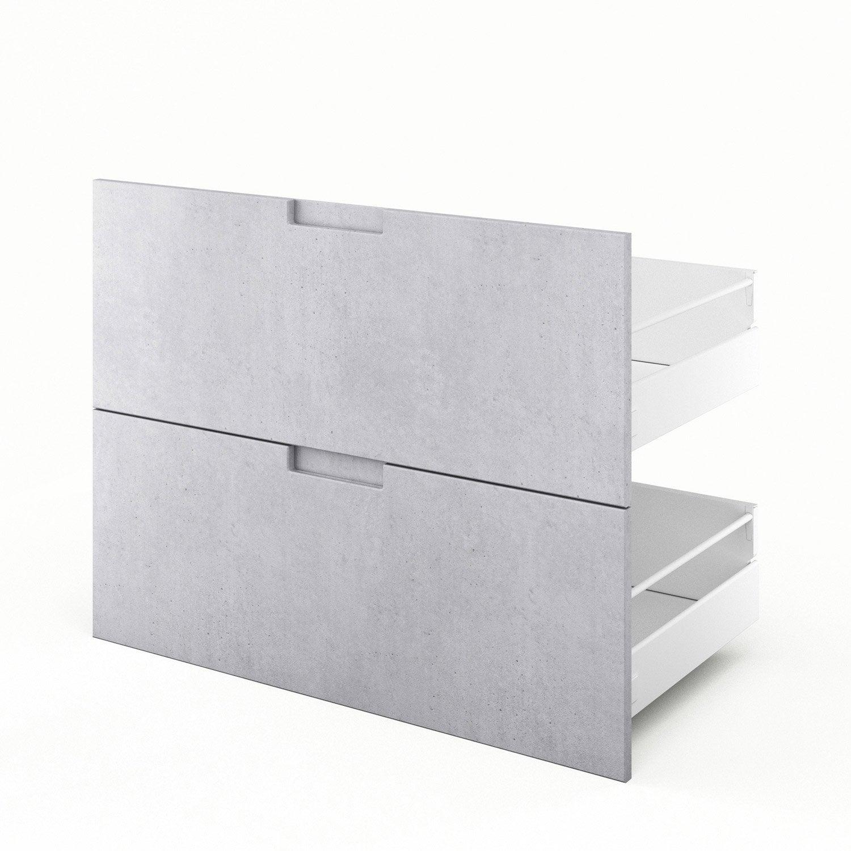 2 tiroirs de cuisine d cor b ton 2d90 berlin x x cm leroy merlin - Amortisseur de tiroir de cuisine ...