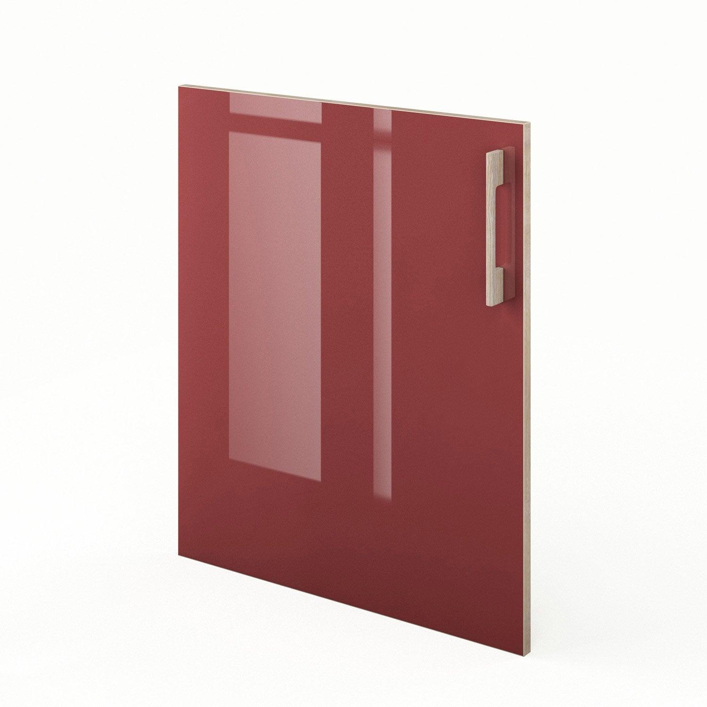 Porte de cuisine rouge f60 grenade x cm leroy for Porte 60 cm cuisine