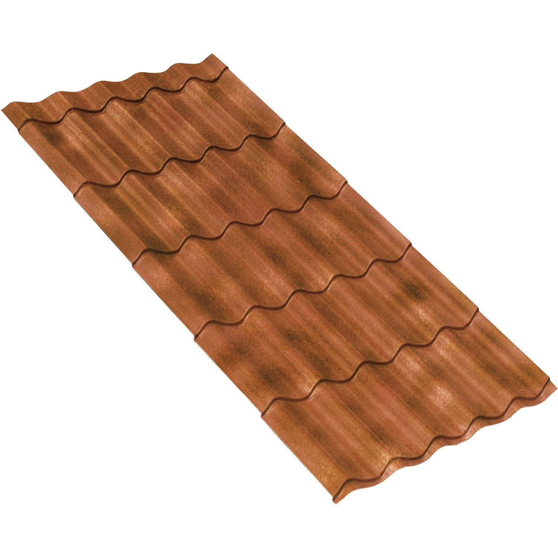 Plaque imit tuile composite rouge flamm first plast - Cubiertas vegetales para tejados ...