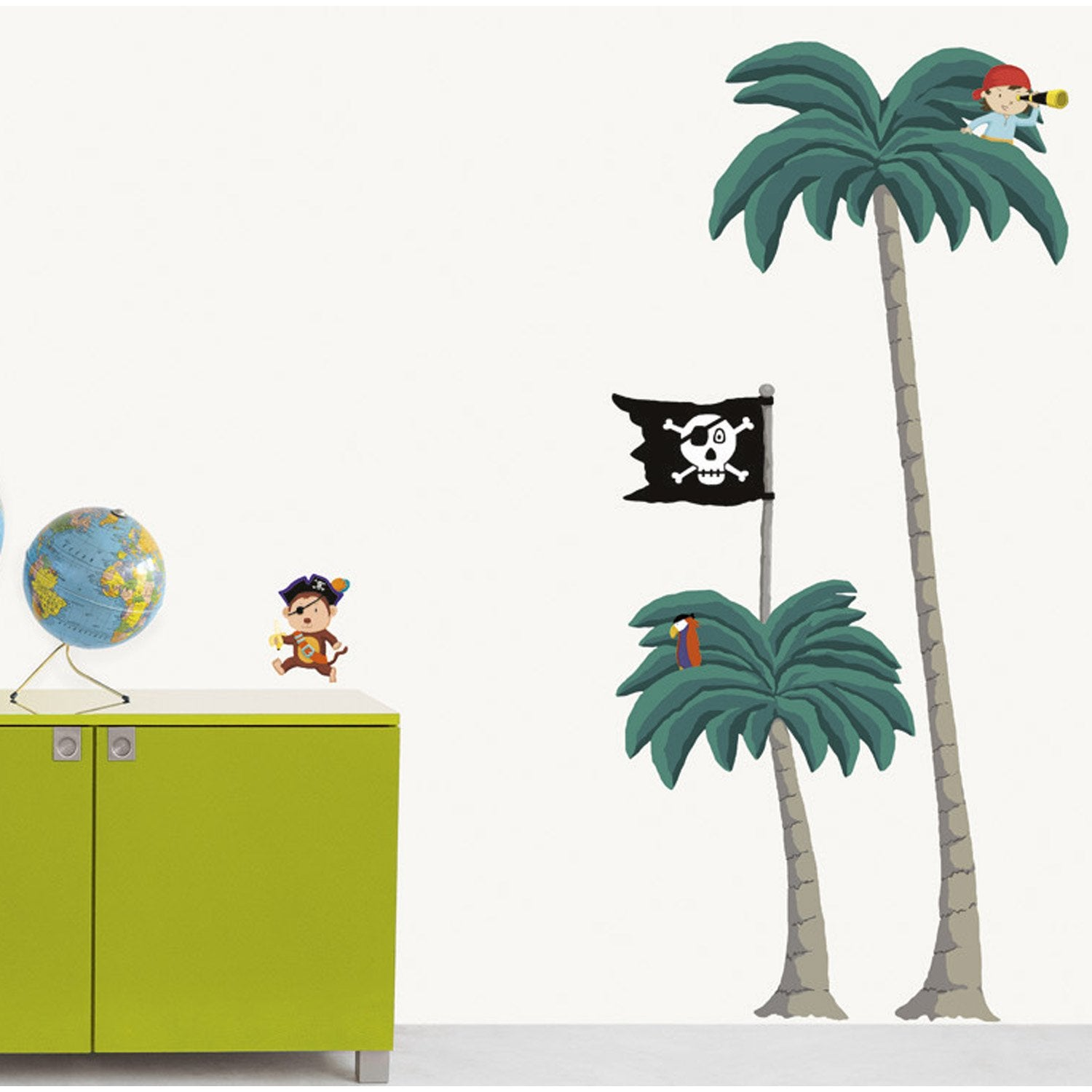 sticker palmiers pirates 49 x 69 cm leroy merlin. Black Bedroom Furniture Sets. Home Design Ideas