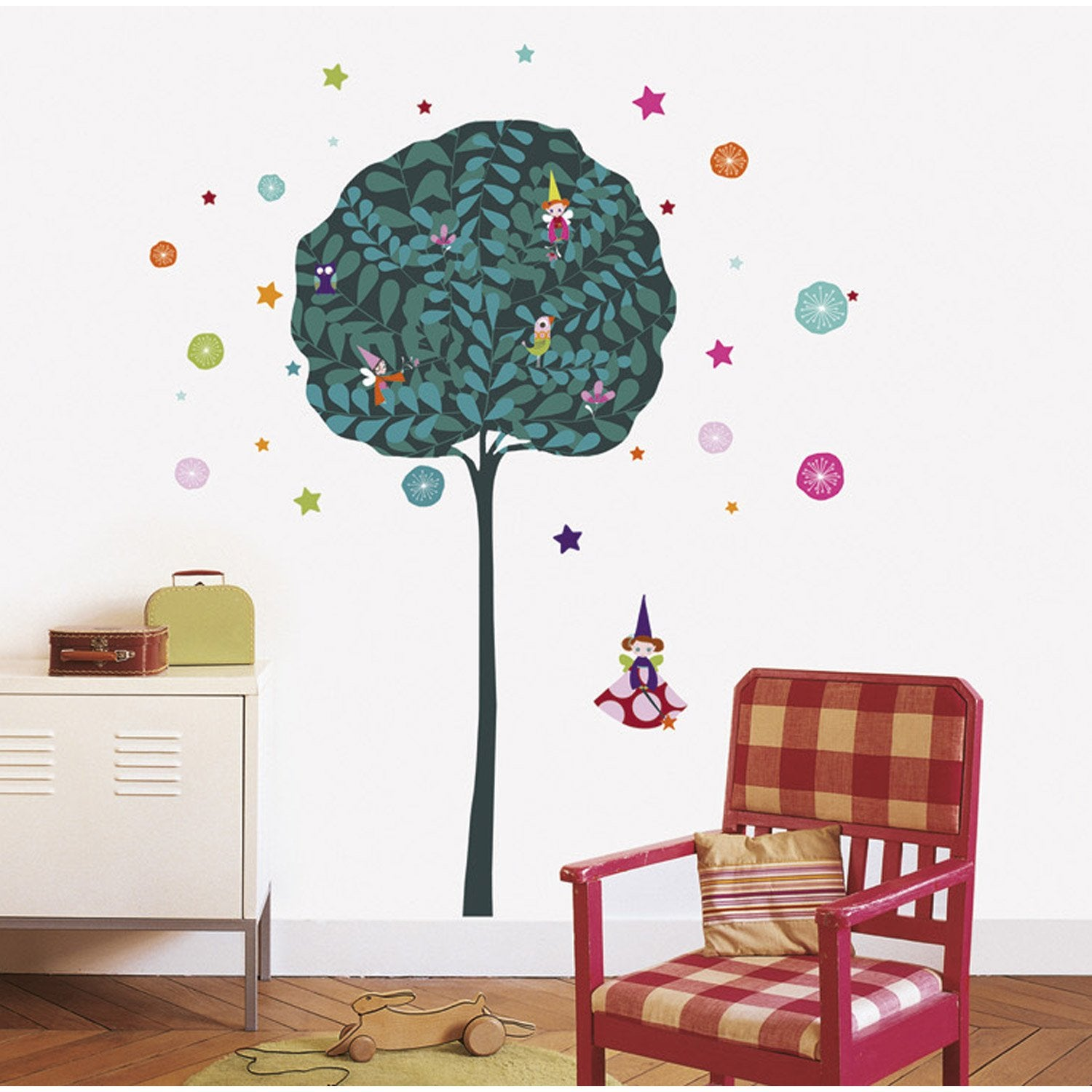 sticker l 39 arbre f e 49 cm x 69 cm leroy merlin. Black Bedroom Furniture Sets. Home Design Ideas