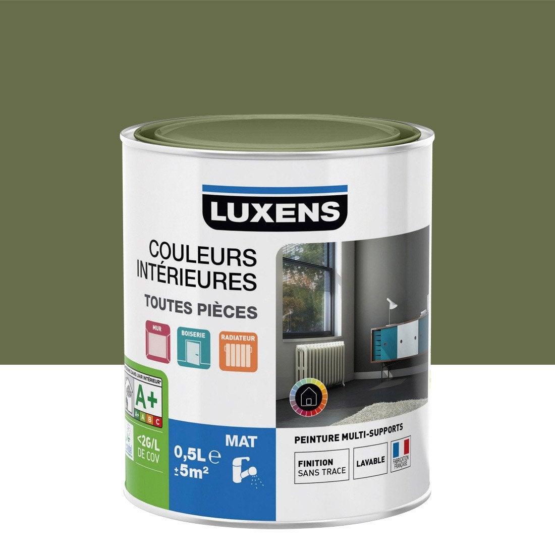 Peinture vert kaki 1 luxens couleurs int rieures mat 0 5 l leroy merlin - Peinture ressource prix litre ...