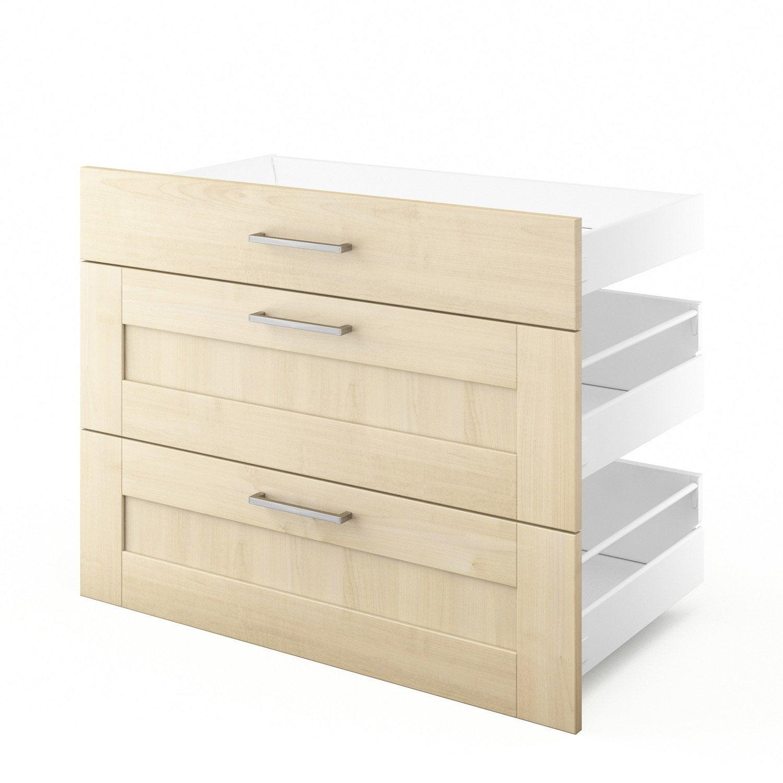 3 tiroirs de cuisine blanc 3d90 ines l90xh70xp55 cm for Tiroir cuisine leroy merlin