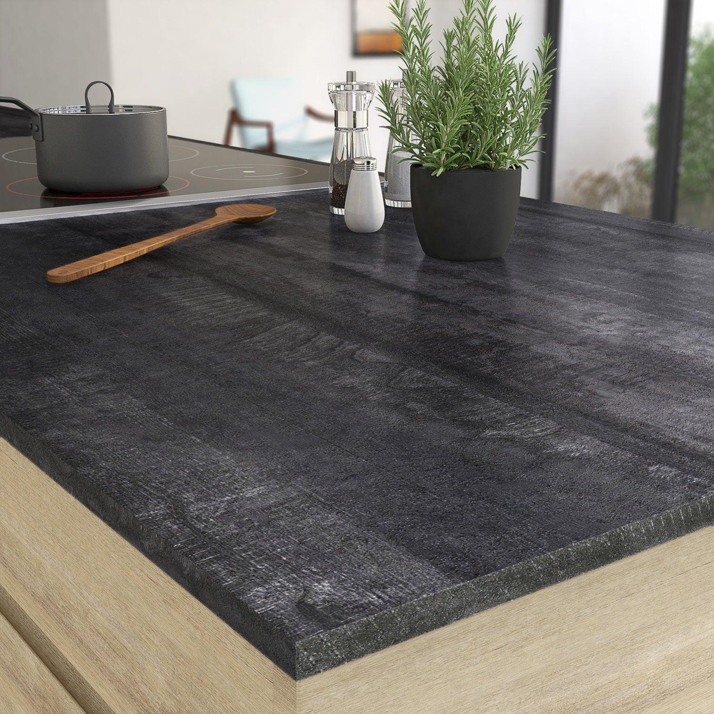 Plan de travail stratifi vintage wood noir mat x p for Plan de travail imitation bois