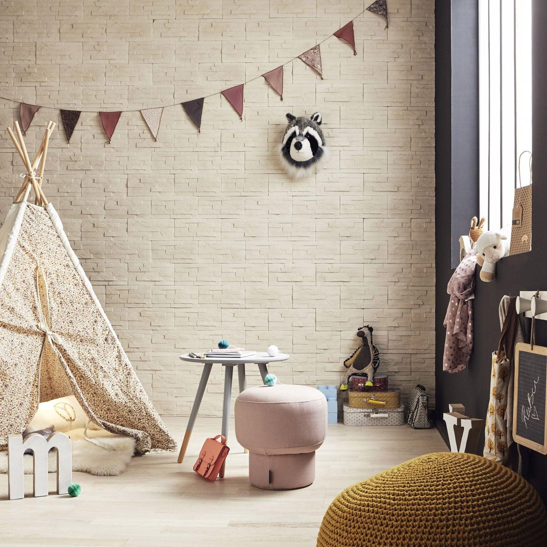 plaquette de parement b ton cr me sunset leroy merlin. Black Bedroom Furniture Sets. Home Design Ideas