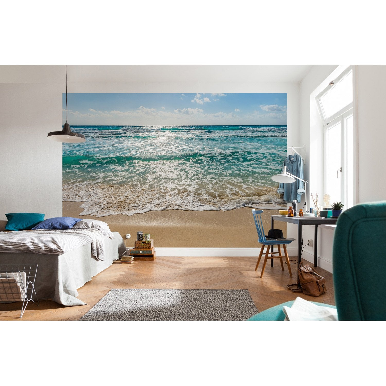 photo murale seaside bleu vert beige papier scenic edition 2 leroy merlin. Black Bedroom Furniture Sets. Home Design Ideas