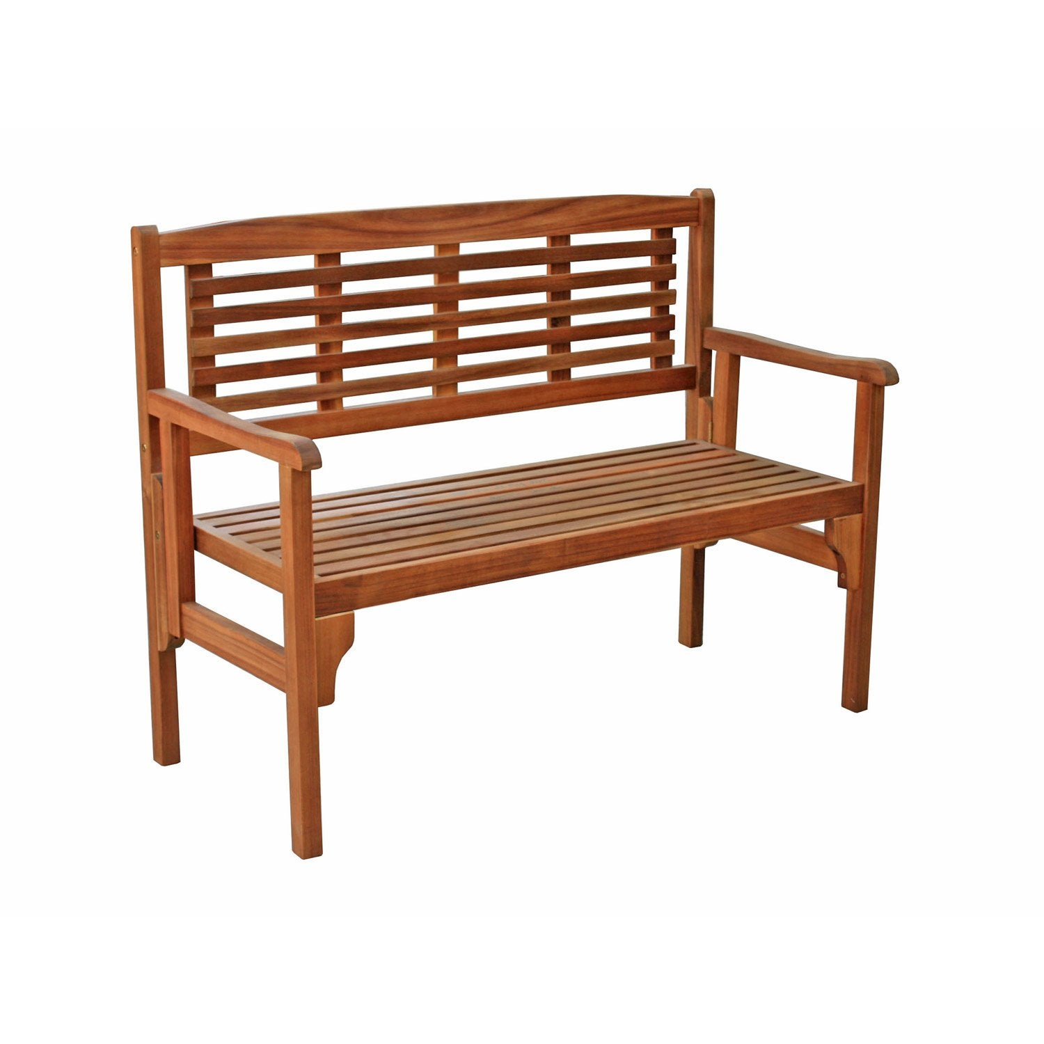 Banc 2 places de jardin en bois porto brun leroy merlin for Table exterieur 2 places
