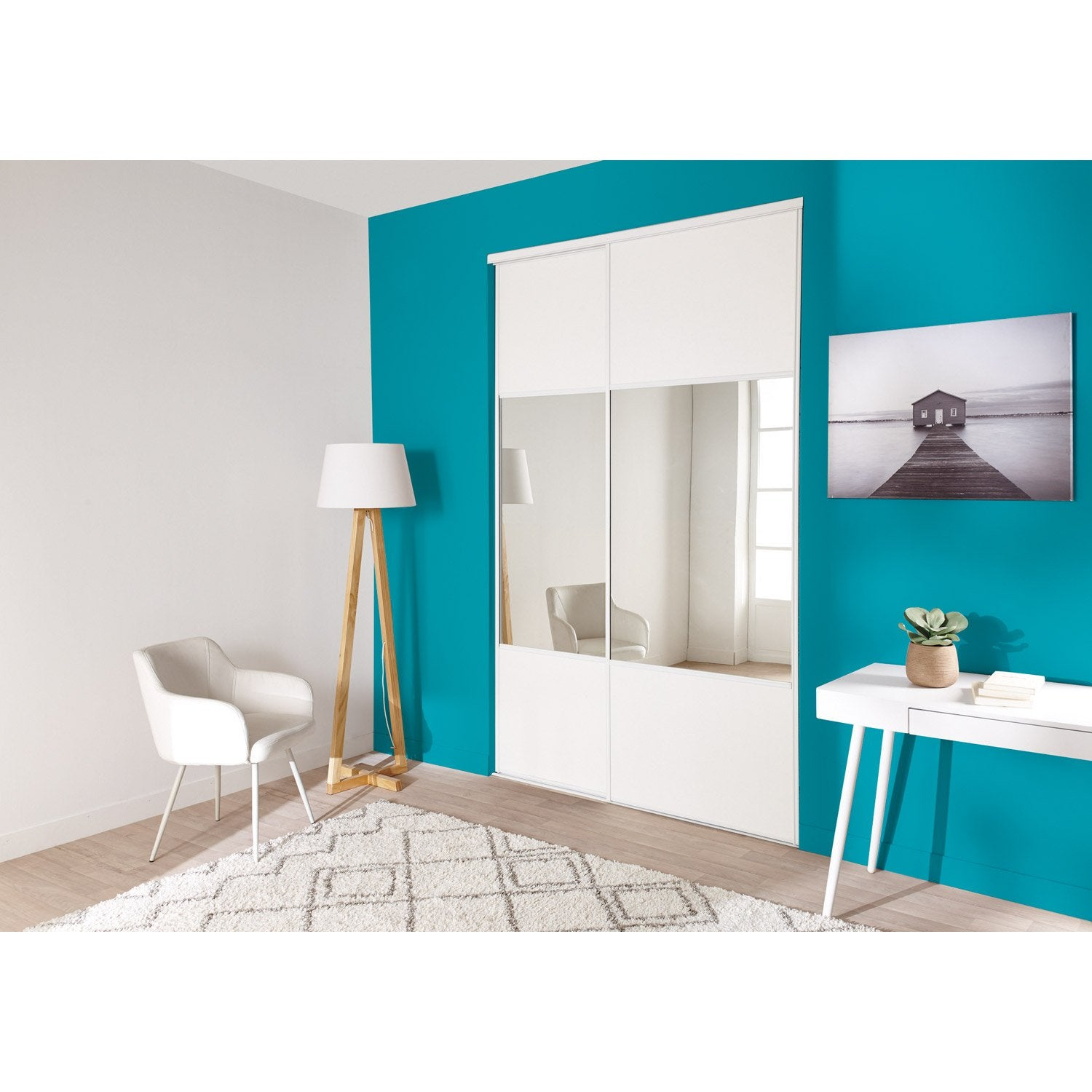lot de 2 portes de placard rail coulissante blanc et miroir x cm leroy merlin. Black Bedroom Furniture Sets. Home Design Ideas