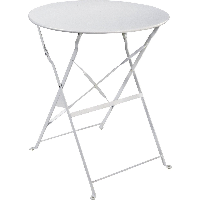 Table de jardin flore ronde blanc 4 personnes leroy merlin - Table ronde 4 personnes ...