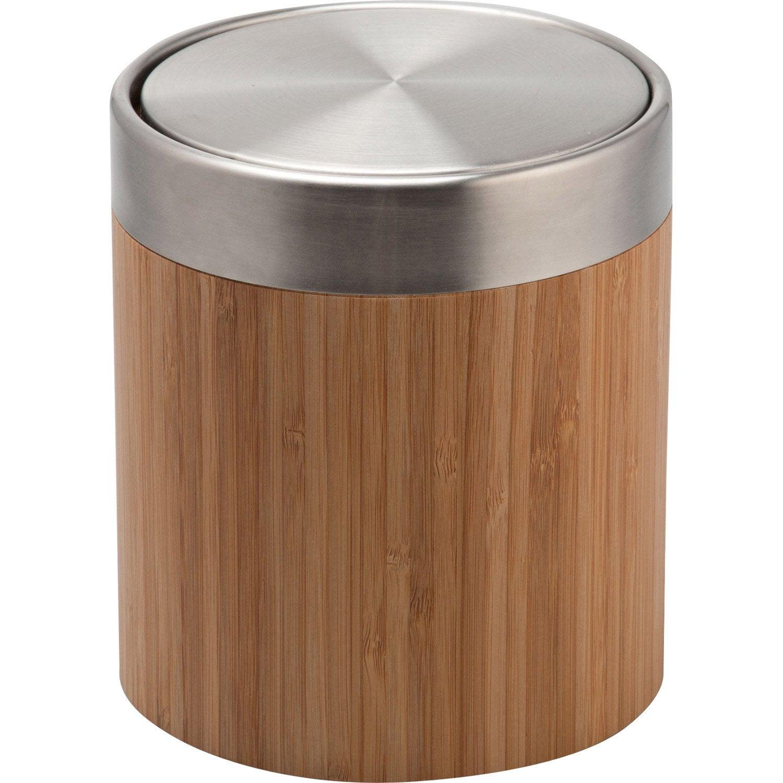 Poubelle de salle de bains 3 l naturel bamboo leroy merlin for Petit toilette leroy merlin