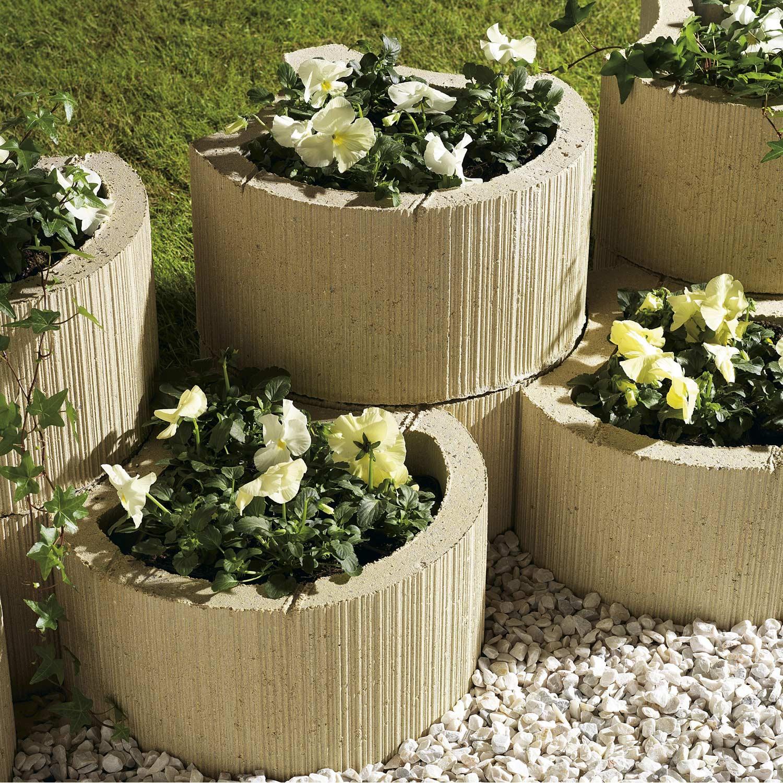 Muret floral de sout nement planter floralie b ton ton pierre h 20 x l 35 c - Beton decoratif exterieur leroy merlin ...