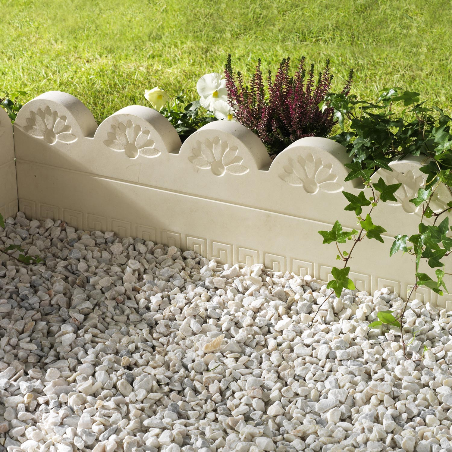 Bordure droite grecoflor b ton naturel x cm for Bordure jardin leroy merlin