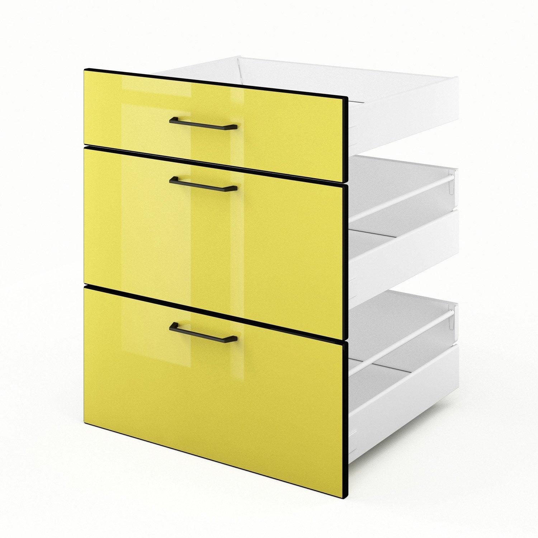 3 tiroirs de cuisine jaune 3d60 pop l60 x h70 x p55 cm for Tiroir cuisine leroy merlin