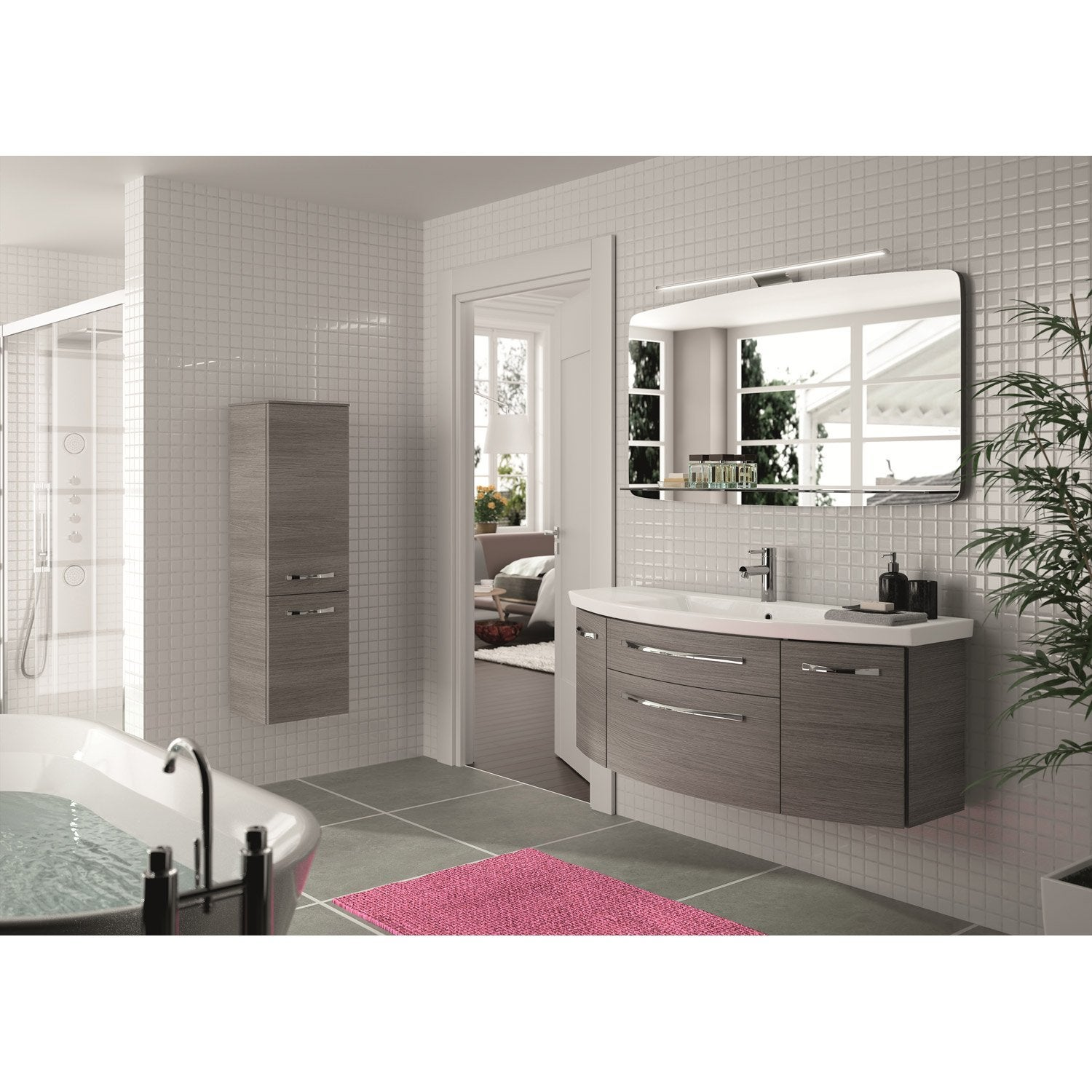 meuble de salle de bains plus de 120 gris argent image. Black Bedroom Furniture Sets. Home Design Ideas