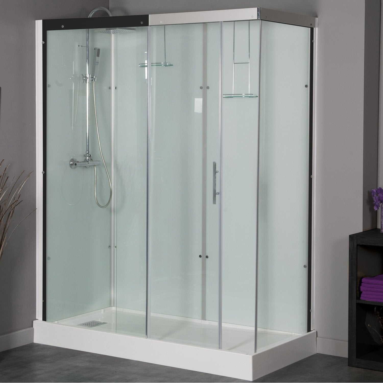 Cabine de douche rectangulaire 160x80 cm thalaglass 2 for Leroy merlin porte douche