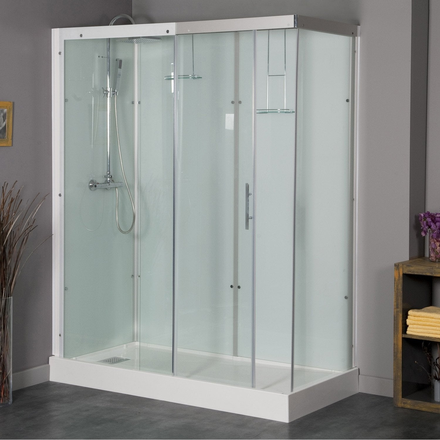 cabine de douche rectangulaire 160x80 cm thalaglass 2 thermo leroy merlin. Black Bedroom Furniture Sets. Home Design Ideas