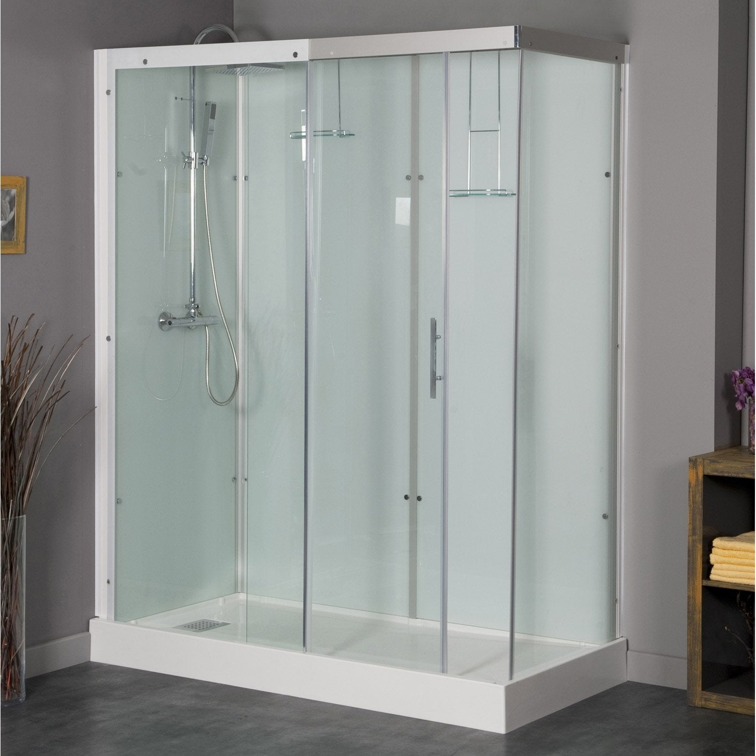 Cabine de douche rectangulaire 120x90 cm thalaglass 2 for Prix douche italienne leroy merlin