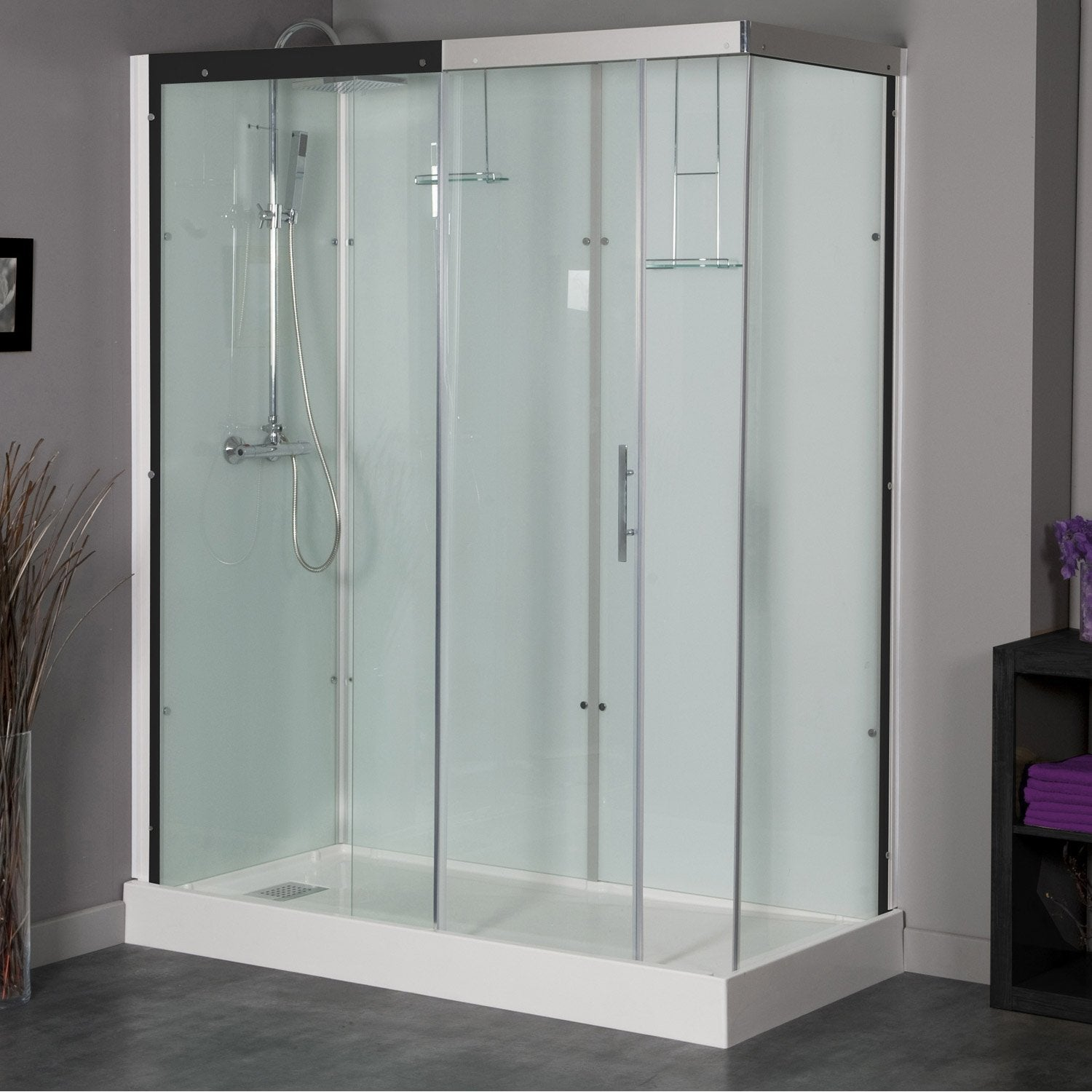 cabine de douche rectangulaire 180x80 cm thalaglass 2 thermo leroy merlin. Black Bedroom Furniture Sets. Home Design Ideas