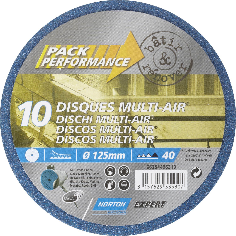 lot de 10 disques abrasifs norton 125 mm grains 40 leroy merlin. Black Bedroom Furniture Sets. Home Design Ideas