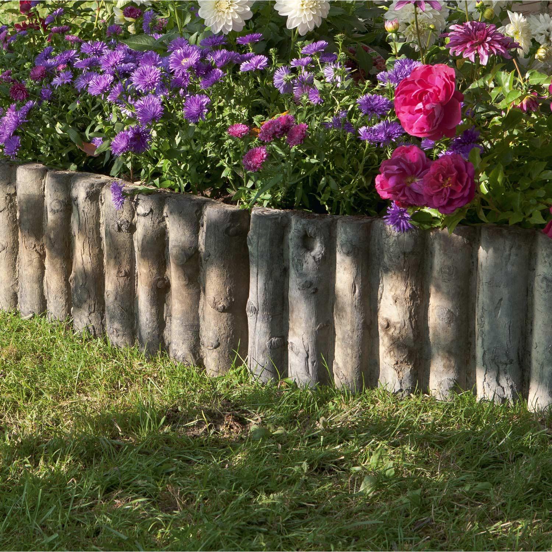 Bordure droite stonewood pierre reconstitu e marron x cm leroy merlin - Bordure jardin occasion ...