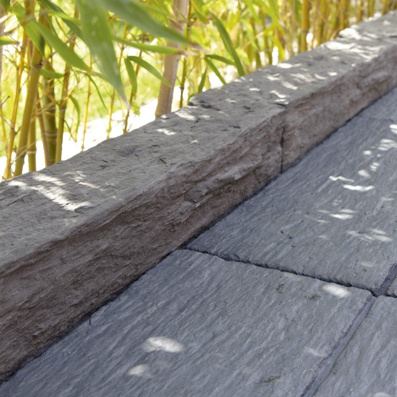 Bordure droite morbihan pierre reconstitu e gris x l for Plante pour bordure de terrasse