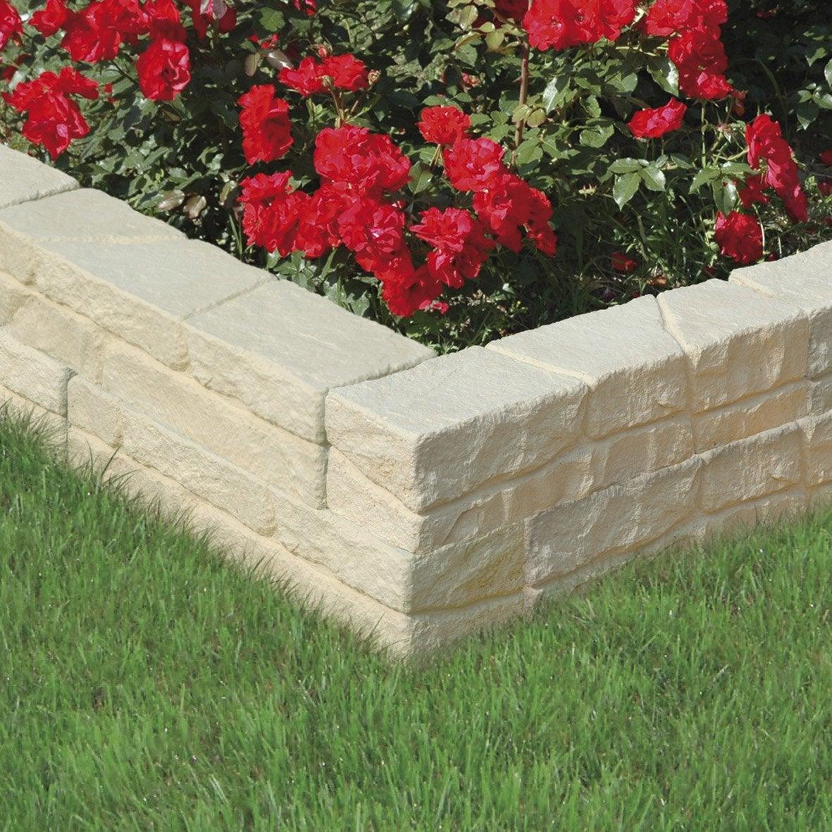 Muret floral de sout nement droit c vennes ton pierre h for Brique pour bordure de jardin