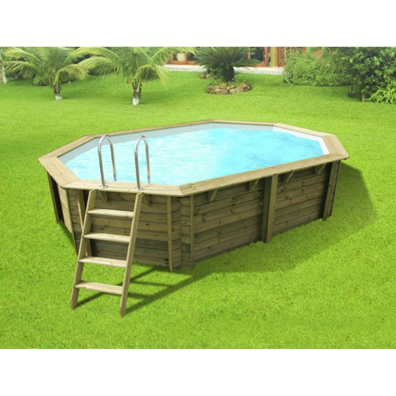 Piscine hors sol bois athena xl diam 6 1 l 6 1 x l 4 x h for Destockage piscine bois semi enterree