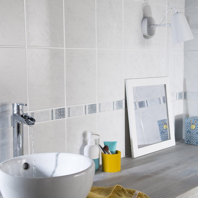 Fa ence mur blanc first x cm leroy merlin for Faience mur blanc