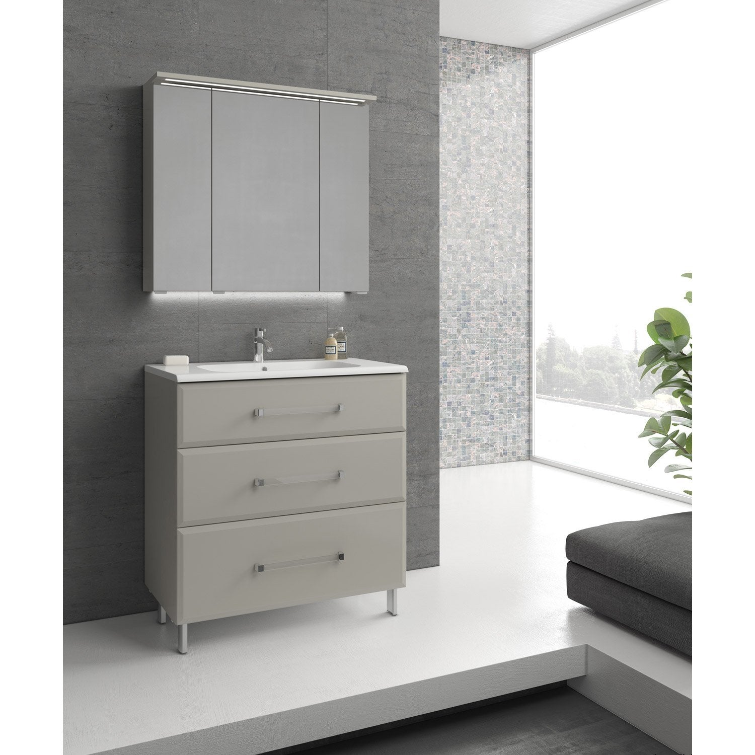 meuble de salle de bains de 80 99 blanc beige. Black Bedroom Furniture Sets. Home Design Ideas