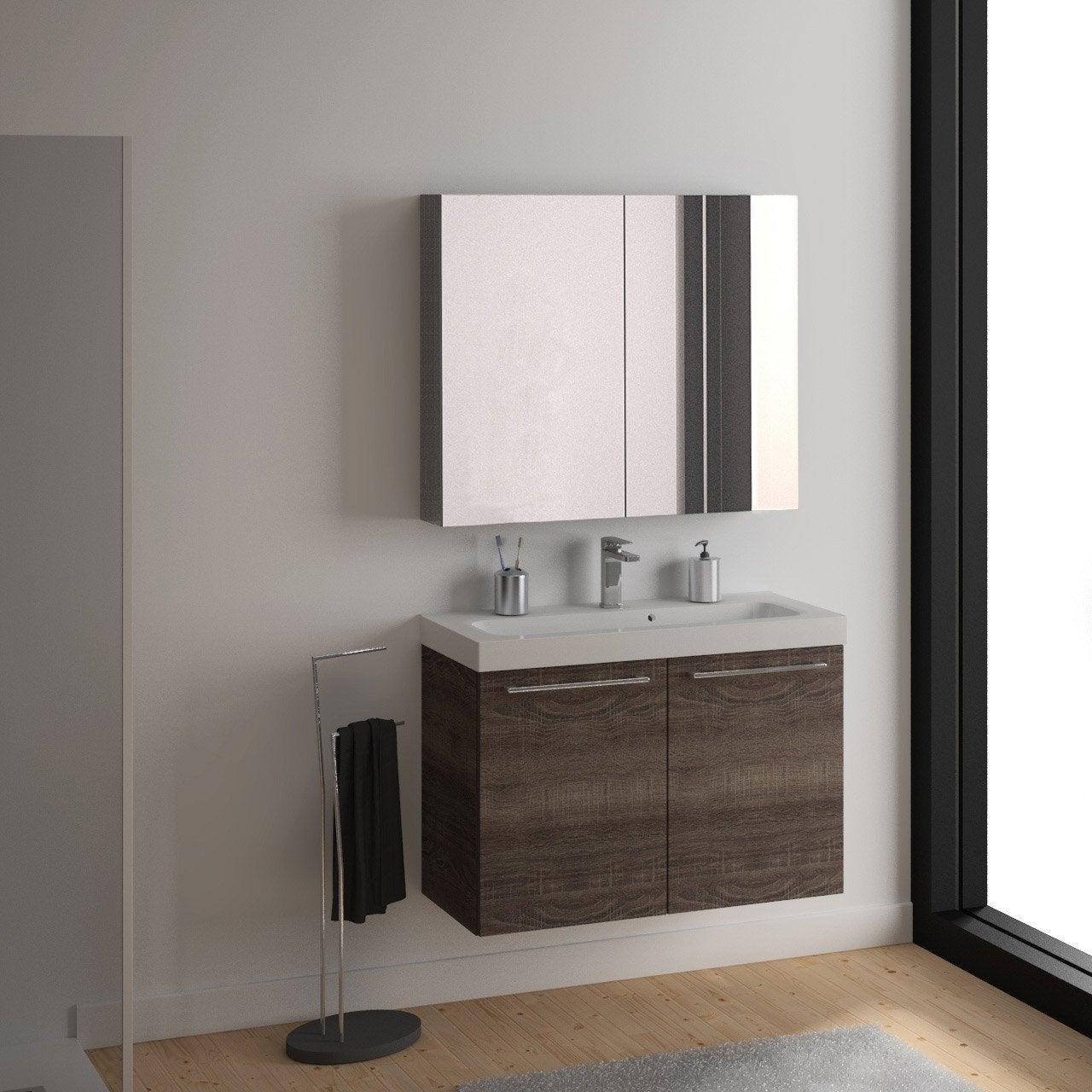 Meuble de salle de bains de 100 119 brun marron - Meubles salle de bains leroy merlin ...
