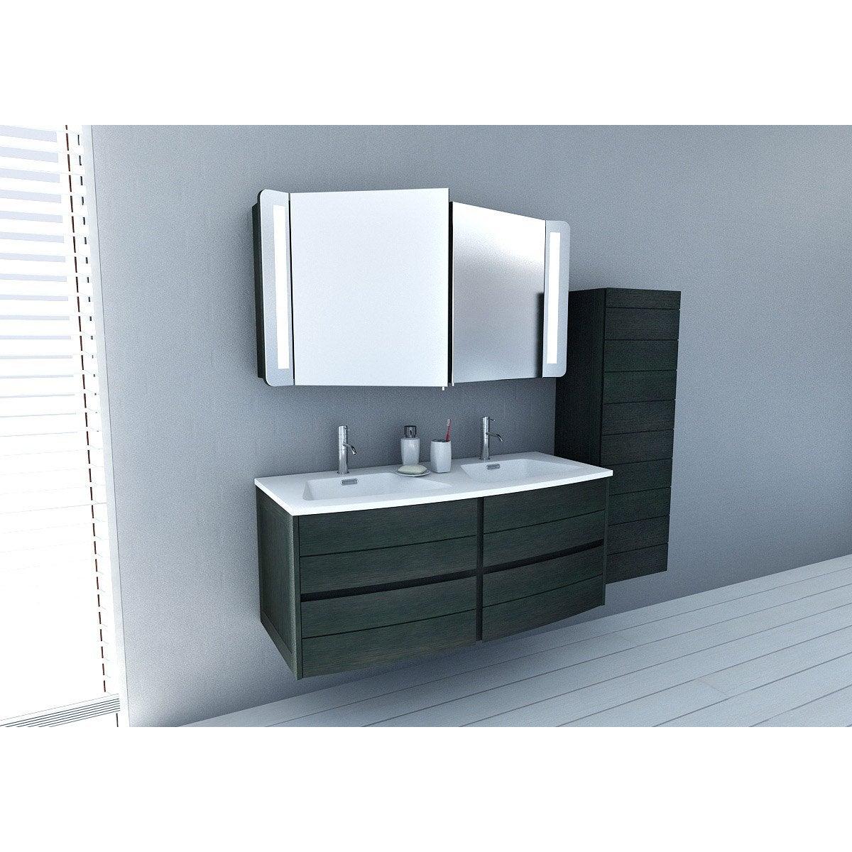 Meuble de salle de bains plus de 120 noir fairway for Meuble bureau leroy merlin