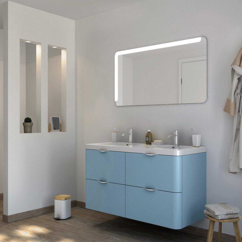 Meuble de salle de bains plus de 120 bleu neo shine - Salle de bain bleu petrole ...